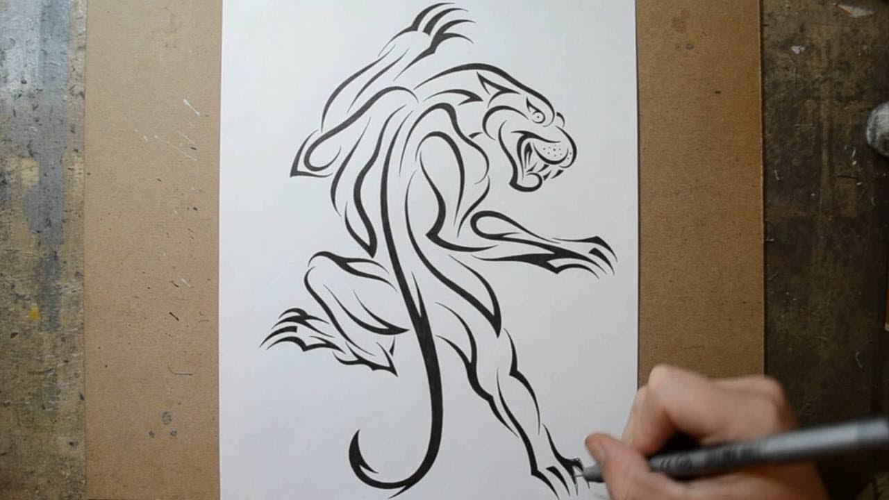 Designing a classic climbing panther tattoo design in tribal youtube