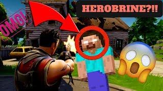 HEROBRINE 1v1 IN FORTNITE?!! REAL!!!