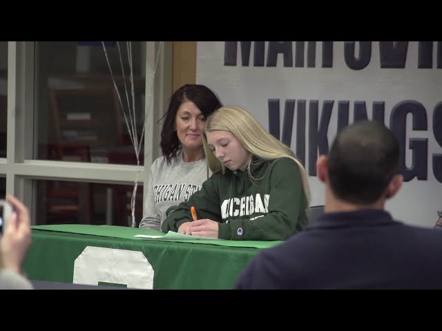 Marysville's Kaia Scheffler holds MSU signing