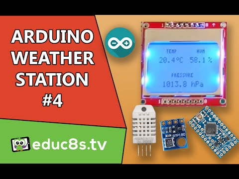 Arduino Project: Weather Station #4 using DHT22, BMP180 sensors and NOKIA  5110 LCD Arduino pro mini