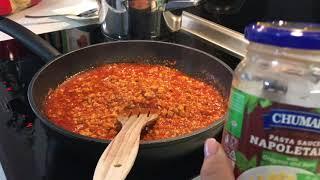 паста Наполетана . Спагетти с соусом . Соус готовый в банке . Что приготовить на обед