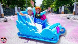 หนูยิ้มหนูแย้ม   รถเอลซ่าอันนา Disney Frozen Sleigh Ride-On Power Wheel