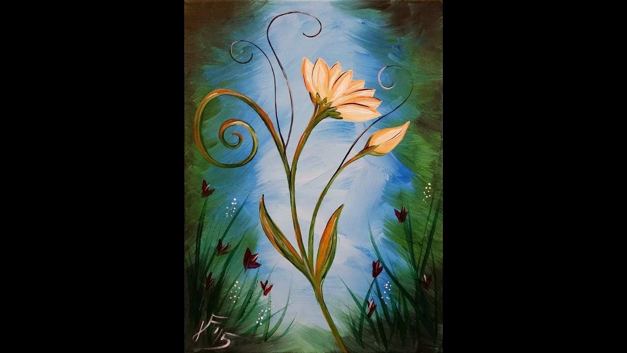 la fleur step by step acrylic painting on canvas for