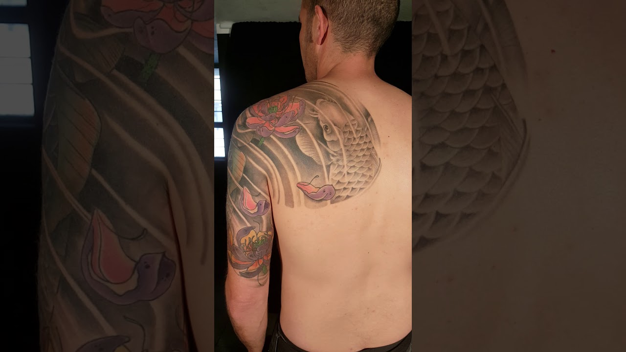Mike S Koi Sleeve Chest Panel Unfinished Big Jpg 2400 3200: Japanese Koi Fish And Lotus Full Sleeve, Chest And