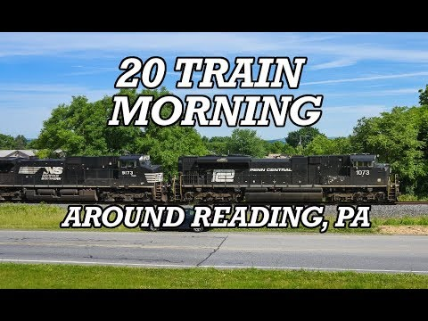 Busy Day Of Trains Around Reading, Pa
