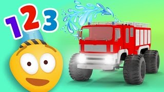 Fire Brigade Monster Trucks   Learn to count with Emergency Vehicles   Rescue City Heroes