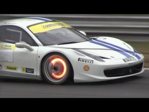 Ferrari 458 Challenge - Glowing Brakes & Full Throttle Acceleration LOUD SOUND!