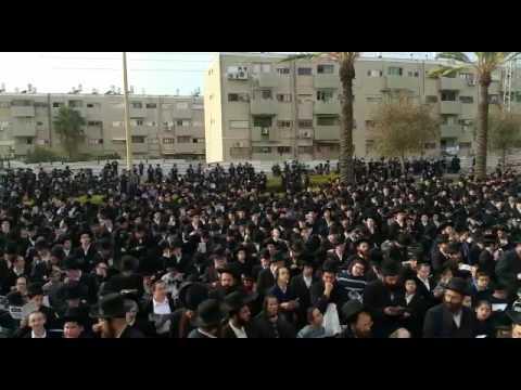 Chareidim protesting in Arad (Via Media Resource Group)