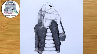 A Girl Taking A Selfie - Easy Pencil Sketch   Hidden face drawing   How to draw a girl with cap