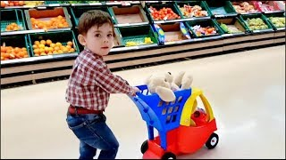 Little Boy Doing Shopping at the Supermarket with Cozy Toy Cart