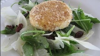 Arugula, Fennel And Raisin Salad With Warm Goat Cheese