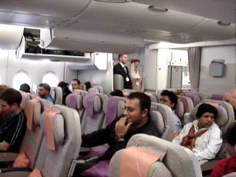 A380 EMIRATES FLIGHT FROM LONDON TO DUBAI INSIDE ECONOMY CLASS