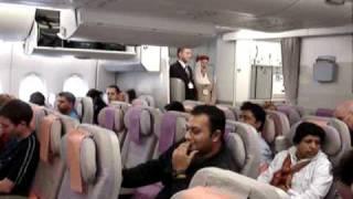 A380 EMIRATES FLIGHT FROM LONDON TO DUBAI INSIDE ECONOMY CLASS