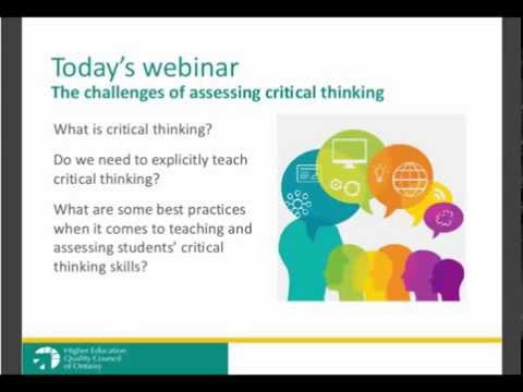 Webinar 3 - The challenges of assessing critical thinking