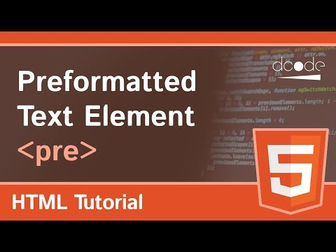 HTML Pre Tag (Preformatted Text Element)