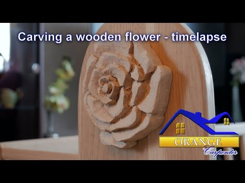 Carving a wooden flower - timelapse