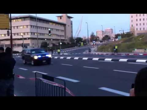 Barack Obama's convoy in Jerusalem