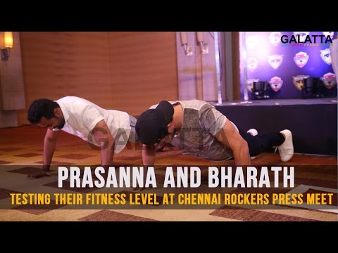 Prasanna And Bharath Testing Their Fitness Level At Chennai Rockers Press Meet