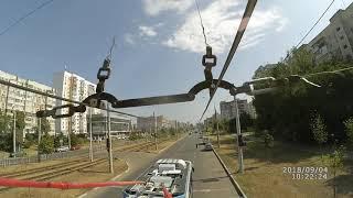 Краснодар, троллейбус №150, съёмка с видом на город.