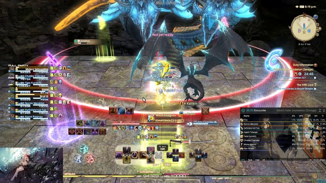 FFXIV - 5 05 - Eden Savage 3 - Samurai Pov (13440 Raid Dps)