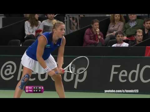 Belinda Bencic vs Pauline Parmentier (FR) Fed Cup 2017
