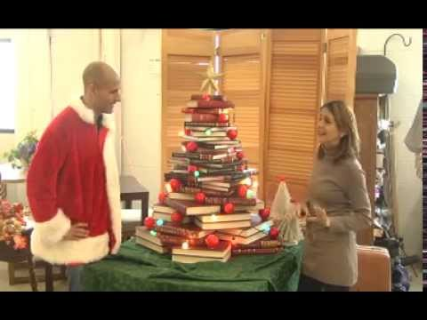 Revibe Christmas Tree Made From Books