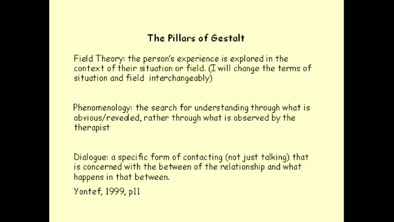 gastalt therapy Gestalt therapy is a form of psychotherapy, based on the experiential ideal of here and now, and relationships with others and the world drawing on the ideas of humanistic psychology, the school of gestalt therapy was co-founded by fritz perls, laura perls ralph hefferline and paul goodman in the 1940s-1950s.