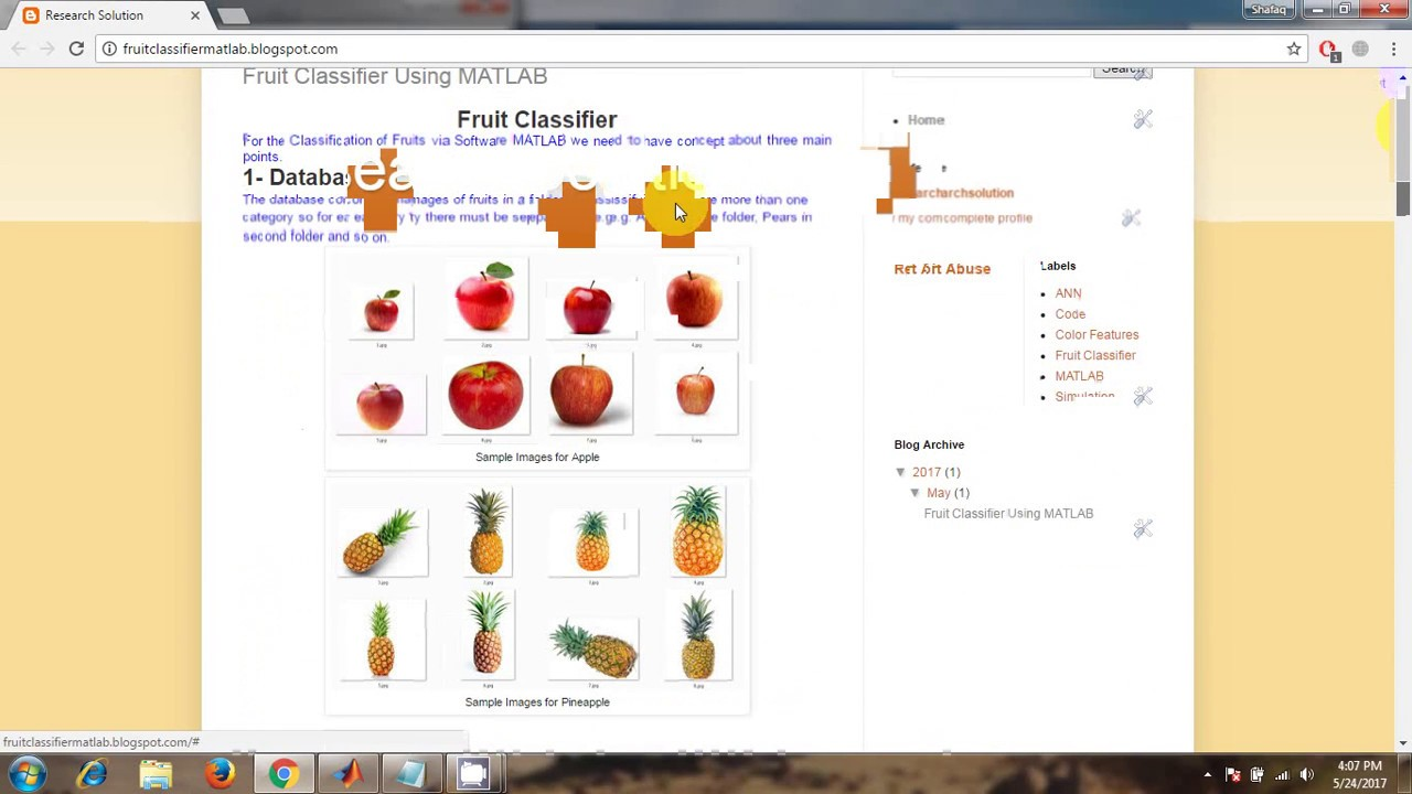 Fruit Classifier or Recognizer Using MATLAB (Color Features and ANN)
