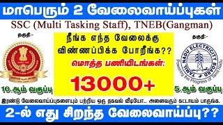 Tamilnadu Government Jobs 2019 | MTS | Gangman | TNEB | SSC | இரண்டு மாபெரும் வேலைவாய்ப்புகள் 2019