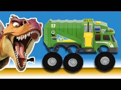 Garbage Monster Trucks And Crazy Dinosaur Animated Fun Show For Kids Youtube