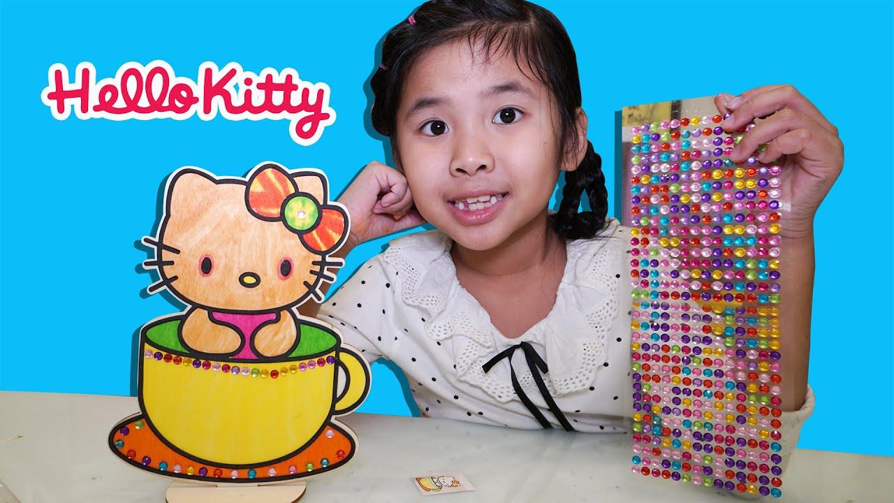 Bé Bún Trang Trí Hạt Đá Cho Bức Tranh Hello Kitty
