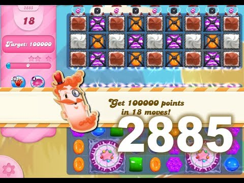 Candy Crush Saga Level 2885 (18 moves version, No boosters)