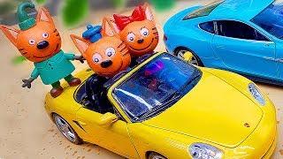 Три кота - Коржик, карамелька и компот в ПЕННОЙ ЛАБОРАТОРИИ. Мультик из игрушек. Приключения котят