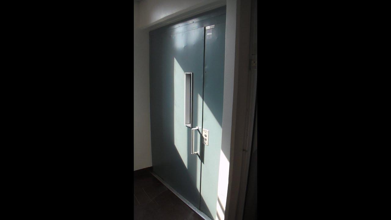 1980 amazing KONE elevator with two different sorts of doors, Torghuset,  Vallentuna, Sweden