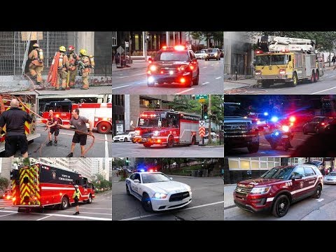 Downtown | Montréal Emergency Services - MAJOR RESPONSE TO 2ND ALARM FIRE & ON-SCENE FOOTAGE