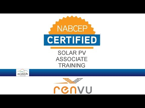 Ecotech Solar PV Associate Training NABCEP Prep Course   RENVU