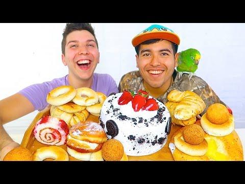 Oreo Cake, Donuts, & Cheese Balls • MUKBANG