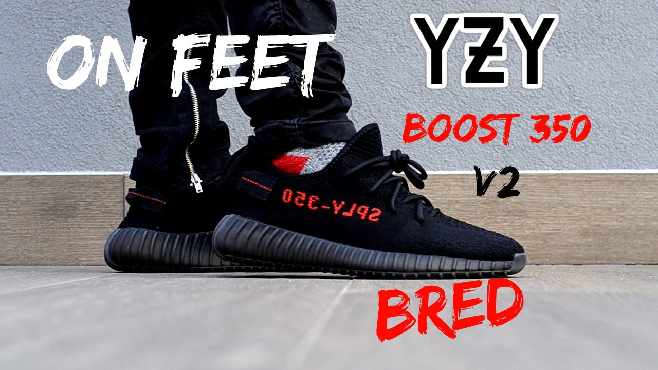 e2b74c8380db2 Adidas Yeezy Boost 350 v2 Black Red ON FEET - YouTube