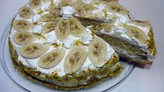 Банановый торт / Нежный, легкий и очень вкусный / Пошаговый рецепт