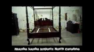Mj 3 Hand Carved Mahogany Queen Canopy Bed