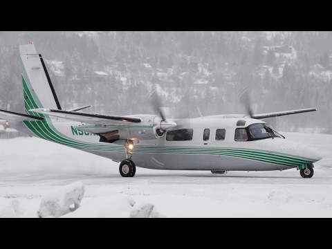 Rockwell 690B Turbo Commander Snowy Takeoff
