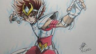 Dibujando a Seiya  de Pegaso v3. Speed drawing Seiya Pegasus V3.