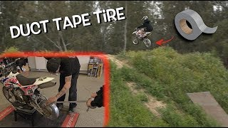 JUMPING a MOTORCYCLE with a DUCT TAPE TIRE!!! This can