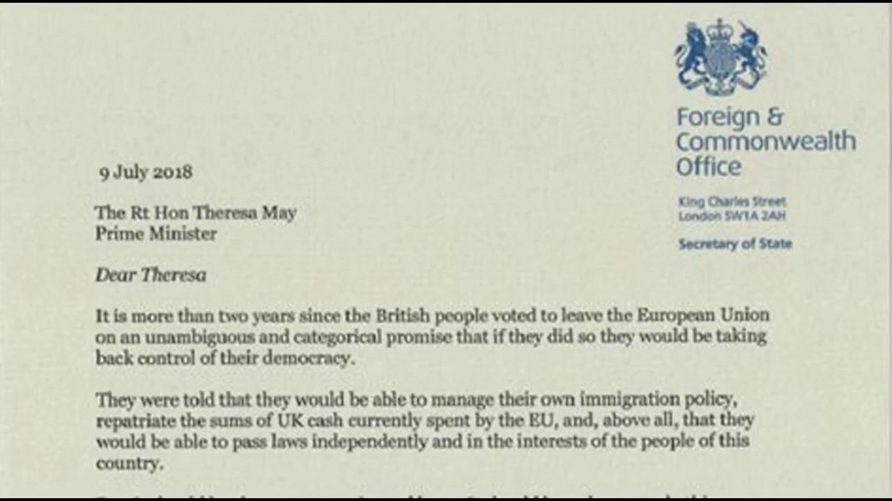 Boris Johnson Resigns As Foreign Secretary Resignation Letter
