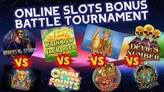 Online Slots Bonus Battle Tournament - Opal Fruits, Riders Of The Storm, Rainforest Magic + More