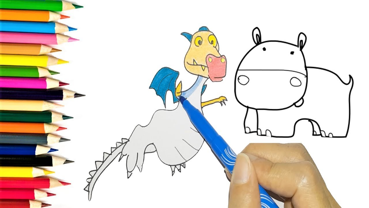 how to draw dragon and hippo coloring pages colouring videos for