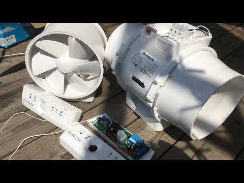 Вентилятор канальный смененного типа  VENTS ТТ 125 подключаем к блоку управления 1-60.