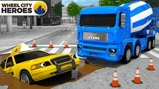 Dump Truck Concrete Mixer in situation | Tow Truck Came to the Rescue of a Taxi | Wheel City Heroes