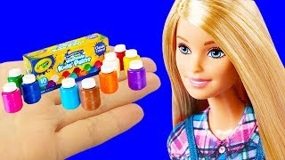 14 DIY Barbie Crafts : School Supplies, Makeup Set and More Miniature Barbie Hacks