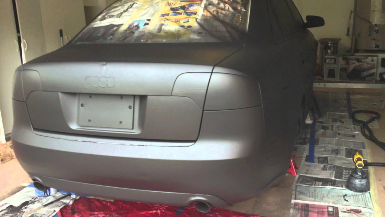 Matte black plastidip gloss Audi a4 b7 - YouTube